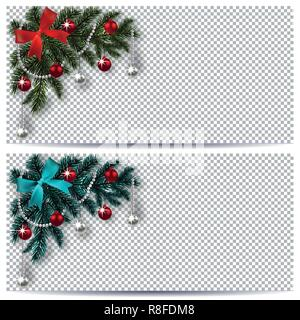 New Year. Christmas. Green and blue branch of a Christmas tree with toys with shadow. Corner drawing. Business cards, invitations, flyers on a transparent background. illustration - Stock Image