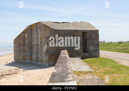Partly destroyed german bunker on DDAY Landing Beach 'Utah Beach  ' Normandy - Stock Image