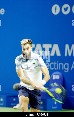 Pune, India. 1st January 2019. Benoit Paire of France in action in the first round of singles competition at Tata Open Maharashtra ATP Tennis tournament in Pune, India. Credit: Karunesh Johri/Alamy Live News - Stock Image