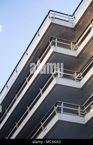 Trenchard Street Car Park, Bristol, UK, a 1960s multi-storey car park - abstract view of decks and railings. - Stock Image