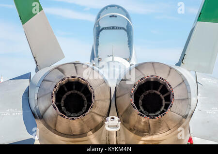 Exhaust or nozzle on a F-18 fighter jet. - Stock Image