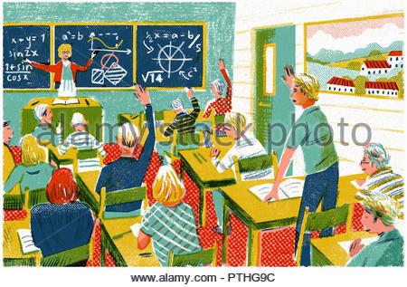 Schoolchildren answering questions in mathematics lesson - Stock Image