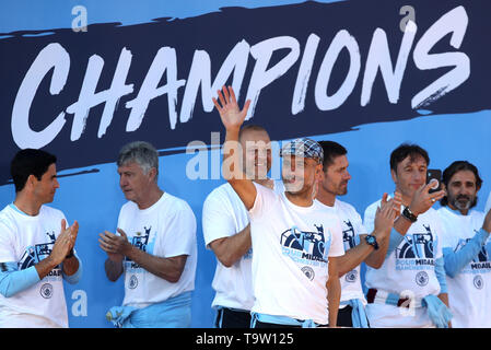 Manchester City manager Pep Guardiola onstage during the trophy parade in Manchester. - Stock Image