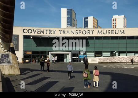 The entrance to Coventry Transport Museum in the city centre UK - Stock Image