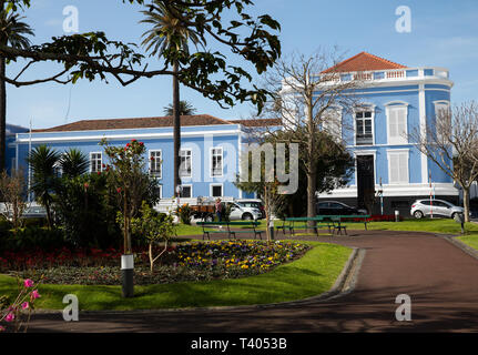 Blue and white building in The Azores - Stock Image