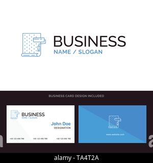 Paint, Interior, Design, Repair, Wallpaper Blue Business logo and Business Card Template. Front and Back Design - Stock Image