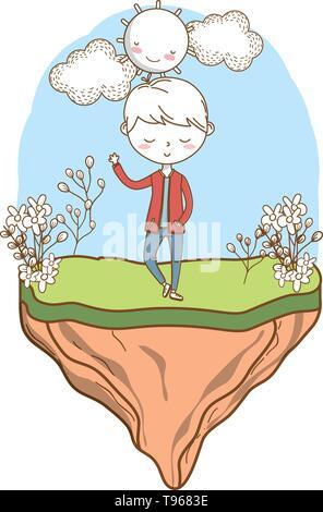 Stylish boy blushing cartoon outfit jeans jacket waving hello  nature background frame vector illustration graphic design - Stock Image