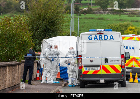 Macroom, West Cork, Ireland. 8th Oct, 2018. Assistant State Pathologist, Dr. Margaret Bolster (with back to camera), prepares to examine the body of the murder victim who has been named locally as 44 year old Timmy Foley. Credit: Andy Gibson/Alamy Live News. - Stock Image