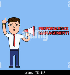 Writing note showing Perforanalysisce Management. Business concept for Improve Employee Effectiveness overall Contribution Man Speaking Through Laptop - Stock Image