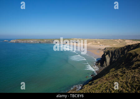 Holywell Bay North Cornwall with waves beach and coast on a beautiful weather - Stock Image