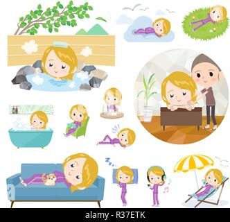 A set of women in sportswear about relaxing.There are actions such as vacation and stress relief.It's vector art so it's easy to edit. - Stock Image