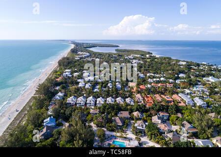 Captiva Island Florida Pine Island Sound Gulf of Mexico beach Chadwick Bayou homes aerial overhead bird's eye view above - Stock Image