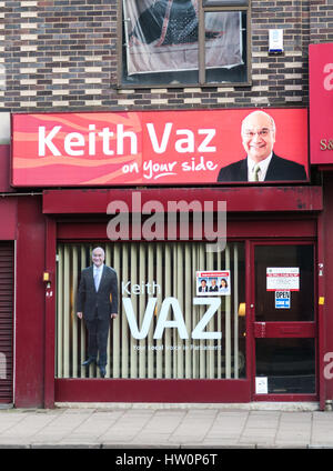 The office of Keith Vaz MP on Belgrave Road, Leicester. Belgrave Road is also know the Leicester's Golden Mile. - Stock Image