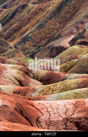 Tourists riding on camel with colorful mountains in Zhangye National Geopark, Zhangye, Gansu Province, China - Stock Image