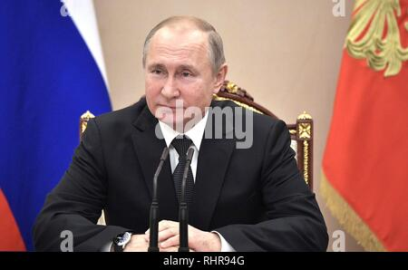 Russian President Vladimir Putin chairs a meeting with the permanent members of the Security Council at the Kremlin February 1, 2019 in Moscow, Russia. The meeting discussed the United States plan to withdraw from the INF disarmament agreement and the crisis in Venezuela. - Stock Image