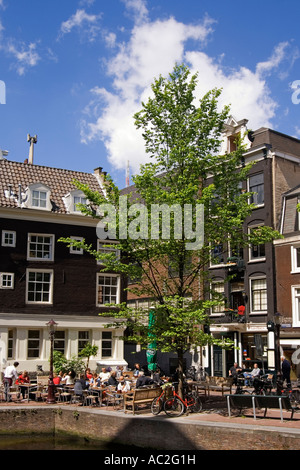 Amsterdam street cafes near university - Stock Image