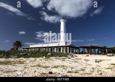 Faro Celarain Lighthouse and Tropical Beach Landscape in Punta Sur Ecological Reserve Natural Park on Southern Tip of Cozumel Island in Mexico - Stock Image