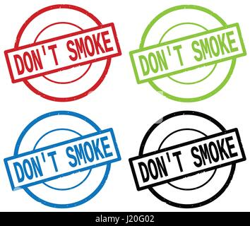 DON'T SMOKE text, on round simple stamp sign, in color set. - Stock Image