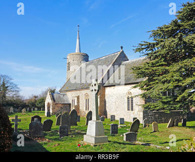 A view of the Church of St Mary the Virgin on the North Norfolk coast at Titchwell, Norfolk, England, United Kingdom, Europe. - Stock Image