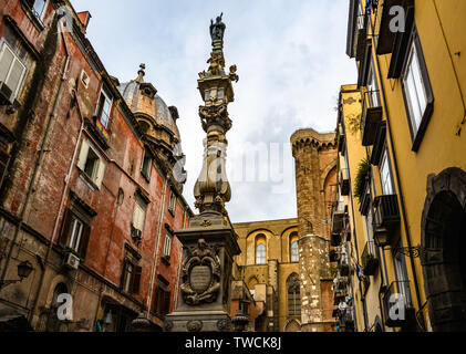 San Gennaro Obelisk in the Old Town of Naples, Italy - Stock Image