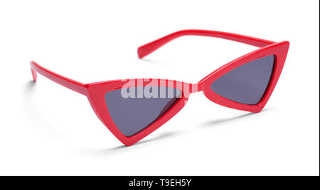 Red Pointed Sunglasses Isolated on White Background. - Stock Image
