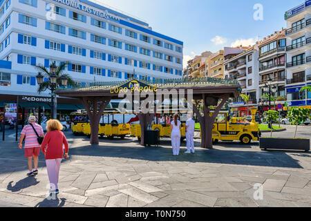 Parrot park train waiting for customers, Puerto De La Cruz, Tenerife - Stock Image
