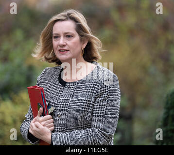 London, UK. 26th March 2019, Amber Rudd MP PC Work and Pensions Secretary arrives at a Cabinet meeting at 10 Downing Street, London, UK. Credit: Ian Davidson/Alamy Live News - Stock Image