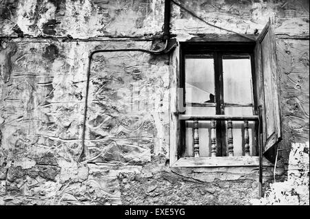 A window in an old derelict house in Turkey - Stock Image