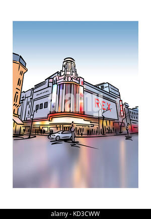 Illustration of Le Grand Rex cinema in Paris, France - Stock Image