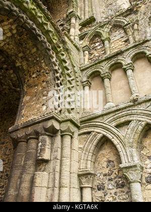 Castle Acre Priory - Norman Arch - Stock Image