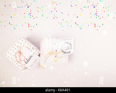 Christmas decoration with square gift box for celebration with confetti falling best Christmas holidays background - Stock Image