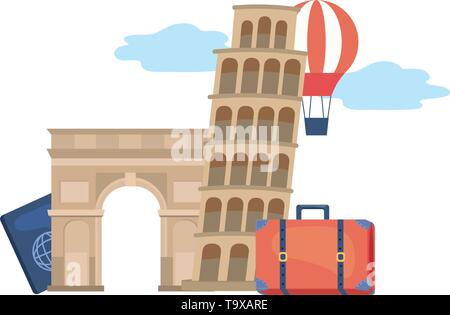 landmark design, Travel trip vacation tourism journey and tourist theme Vector illustration - Stock Image