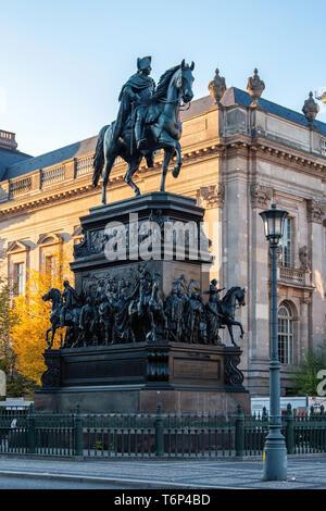 Frederick the Great, Friedrich des Grossen bronze equestrian statue by sculptor, Christian Daniel Rauch in Unter den Linden, Berlin - Stock Image