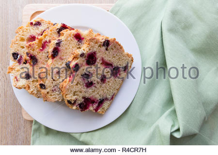 Sliced blackcurrant tea bread - Stock Image