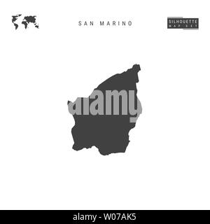 San Marino Blank Map Isolated on White Background. High-Detailed Black Silhouette Map of San Marino. - Stock Image