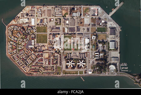 aerial map of Treasure Island, San Francisco, California - Stock Image