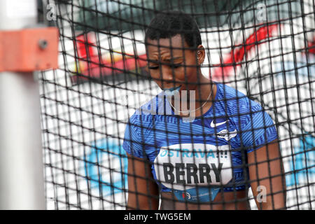 Ostrava, Czech Republic. 20th June, 2019. Gwen Berry (USA) competes in hammer throw during the Ostrava Golden Spike, an IAAF World Challenge athletic meeting, in Ostrava, Czech Republic, on June 20, 2019. Credit: Petr Sznapka/CTK Photo/Alamy Live News - Stock Image