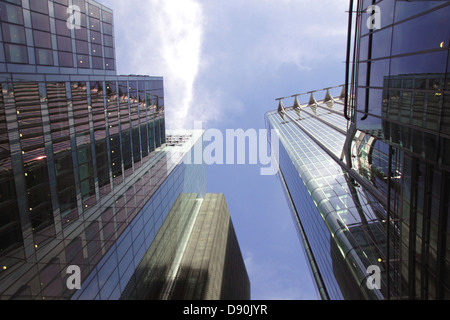 Skyscrapers in the City of London view from Moor Lane - Stock Image