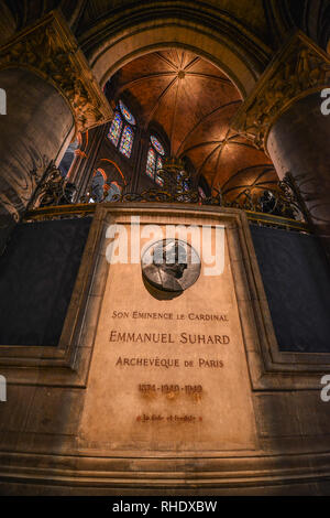 Paris, France - Oct 2, 2018. Monument of Emmanuel Suhard at Notre-Dame de Paris. Cathedral is one of the finest examples of French Gothic architecture - Stock Image