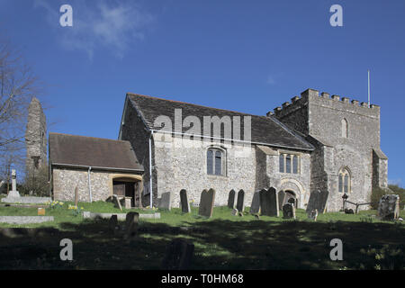 the old parish church in the small sussex village of bramber west sussex - Stock Image
