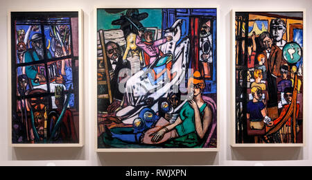 The Beginning, by Max Beckmann , The Metropolitan Museum of Art, Manhattan, New York USA - Stock Image