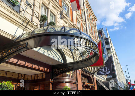 Front entrance canopy of the luxury 5 star Rubens at the Palace Hotel, Buckingham Palace Road, Westminster London SW1, UK - Stock Image