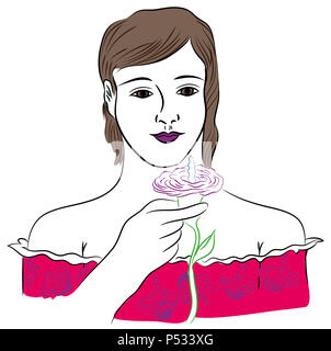 Girl and flower.  Beautiful standing young girl holding purple flower illustration. - Stock Image