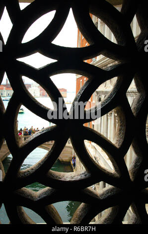Looking out of the bridge of sighs in Venice Italy - Stock Image