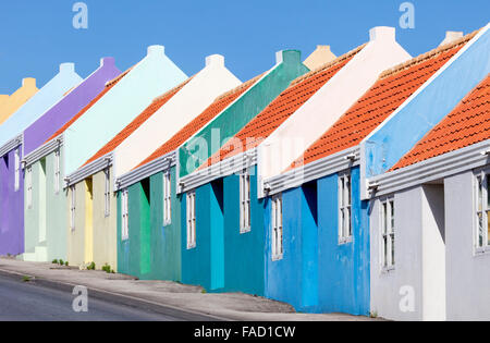 A Row of Colourful Houses on Berg Altena Road, Willemstad, Curacao - Stock Image
