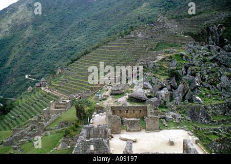 Inca Terraces Machu Picchu, Peru, South America - Stock Image