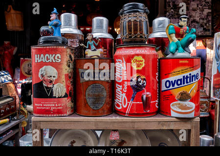 Vintage Objects for sale at a street stall. Chinatown, Huay Yai, Pattaya, Thailand - Stock Image