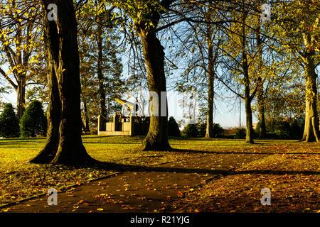 Early morning autumn sunshine in Castle Gardens, Lisburn, N.Ireland. - Stock Image