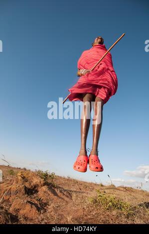 Maasai Warrior Jumping. Kenya, Africa. - Stock Image