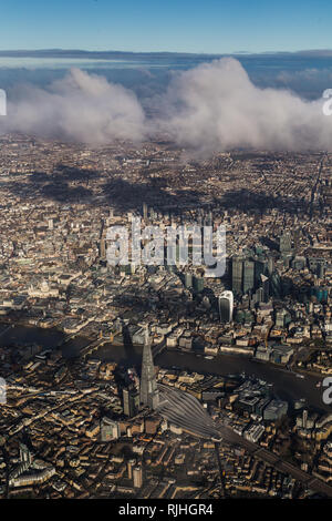 Aerial view of central London looking North over the Shard - Stock Image